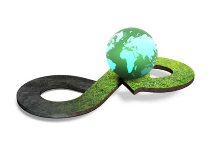 Circular economy concept. Arrow infinity symbol with grass texture and colorful globe, isolated on white background, 3D rendering.