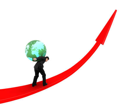 Businessman carrying colorful globe upward on red trend line, isolated on white background. Stock Photo