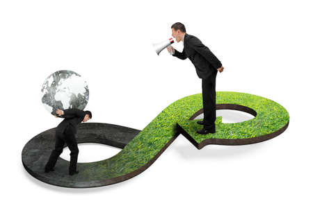 economic cycle: Green circular economy concept. Boss using megaphone yelling at his employee carrying globe on arrow infinity symbol with grass texture.