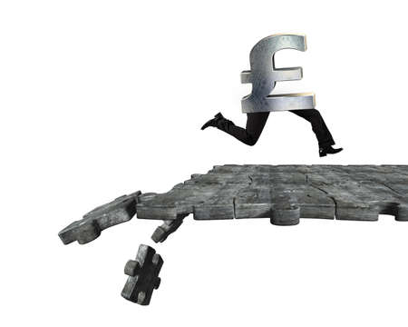 Pound symbol with human legs running on concrete puzzle ground with some pieces falling, isolated on white background. Stock Photo