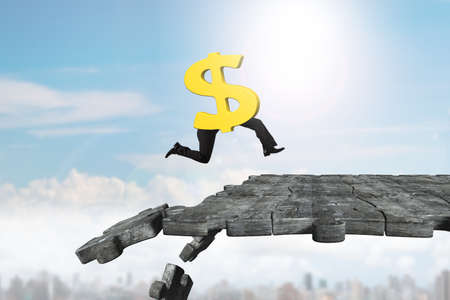 Dollar sign with human legs running on concrete puzzle ground with some pieces falling. Stock Photo