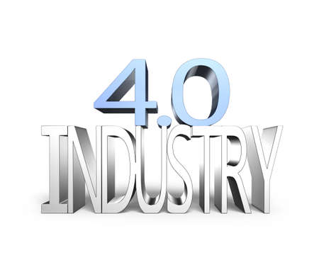 40: Industry 4.0 concept. 3D illustration text of industry 4.0, isolated on white background.