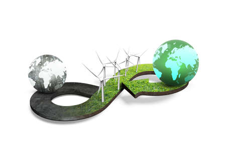 Green circular economy concept. Arrow infinity symbol of grass texture with wind turbines and two globes of different colors, isolated on white background, 3D rendering.