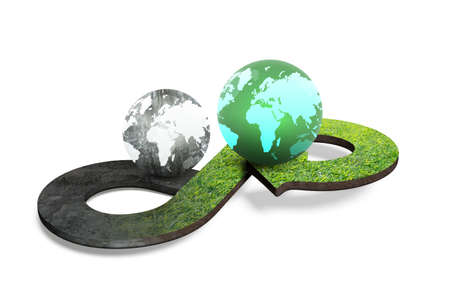 Circular economy concept. Arrow infinity symbol with grass texture and two globes of different colors, isolated on white background, 3D rendering.