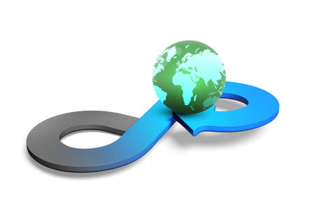 economic cycle: Circular economy concept. Arrow infinity symbol with colorful globe, isolated on white, 3D rendering.