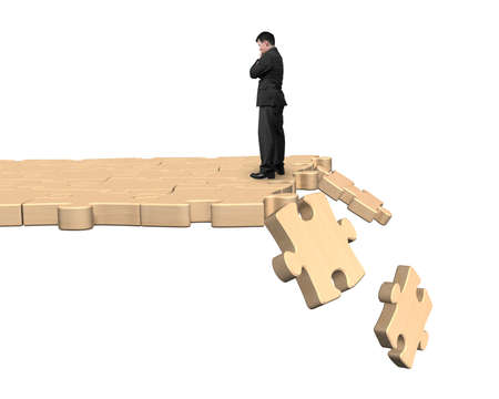 the collapsing: Thinking man standing on wooden puzzle path with some pieces falling, isolated on white background.