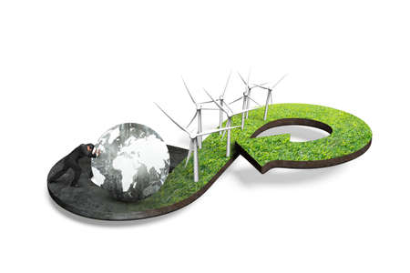 economic cycle: Green circular economy concept. Arrow infinity symbol of grass texture with wind turbines and man pushing globe, isolated on white background. Stock Photo