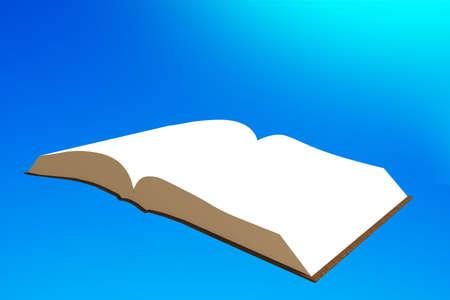 Book flying in the blue sky, 3D illustration