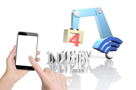 業界 4.0 コンセプト。女性は、白い背景に分離された wifi 記号およびテキスト産業 4.0 の 3 D ロボット アームを制御するスマート フォンを持っている