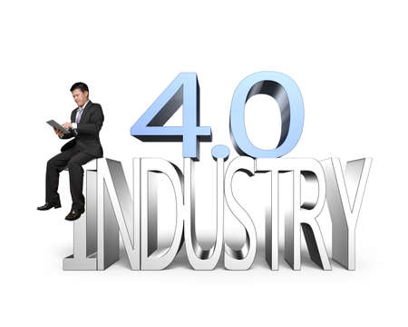 業界 4.0 コンセプト。タブレットを使用して、白い背景で隔離業界 4.0 の 3D テキストに座っている男。