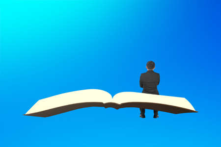 Man sit on book flying in the blue sky.