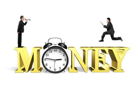 businessman using a megaphone: Boss using megaphone yelling at running employee holding table, on golden money word with alarm clock, isolated on white background. Stock Photo