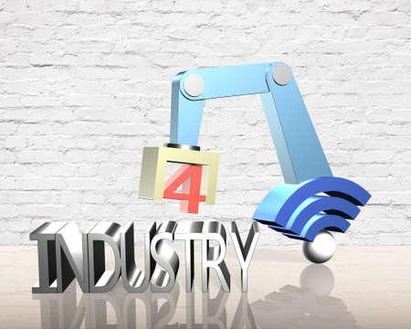 業界 4.0 コンセプト。Wifi 記号およびテキスト産業 4.0 の 3 D ロボット アーム。 写真素材