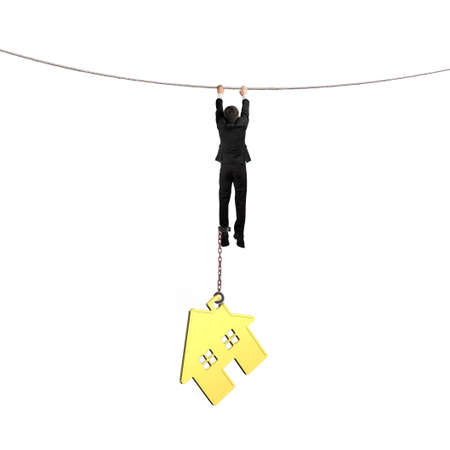 Businessman shackled by gold house hanging on the rope, isolated on white background.
