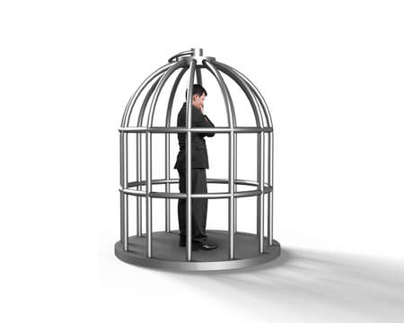 pitfall: Cage with man thinking inside, isolated on white.