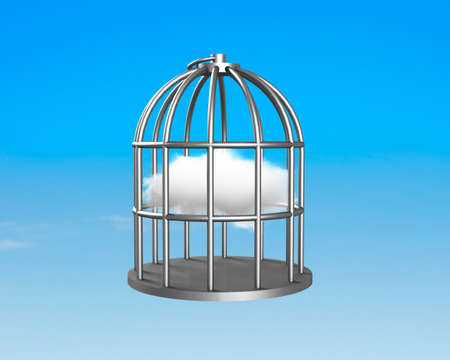 Cage with clouds inside on blue sky background.