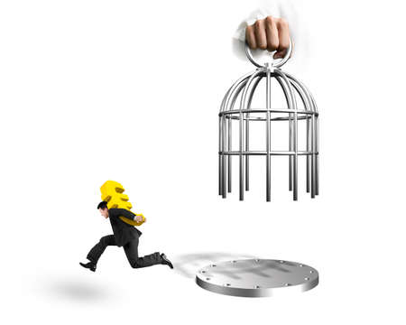 Hand opening the cage and man carrying golden dollar sign running, isolated on white background.