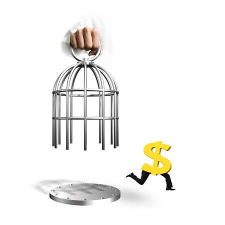 Hand opening the cage and golden dollar sign with human legs running, isolated on white background.