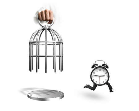 Hand opening the cage and alarm clock with human legs running, isolated on white background.