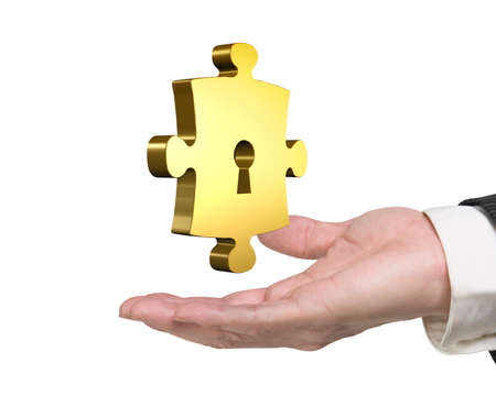 chrome man: Man hand holding one golden puzzle piece with keyhole, isolated on white background.
