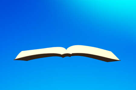 One book fly in the blue sky, 3D illustration