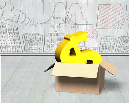 Golden dollar sign in opened cardboard box, on doodles wall and wooden floor indoors background. Stock Photo