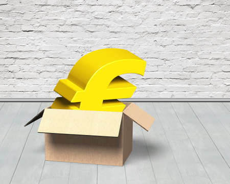 Golden Euro symbol in opened cardboard box, on brick wall and wooden floor indoors background.