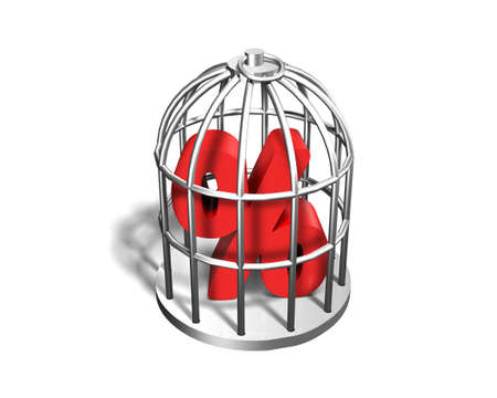 trapped: Red percentage sign in the silver cage, isolated on white, 3D illustration Stock Photo