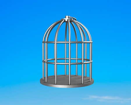 Une cage d'argent sur fond de ciel bleu.