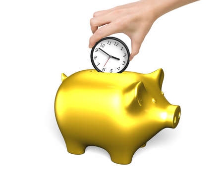 importance: Hand putting the clock into golden piggy bank, isolated on white background. Time is money concept.