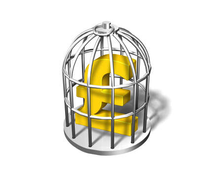 Golden pound symbol in the silver cage, isolated on white, 3D illustration