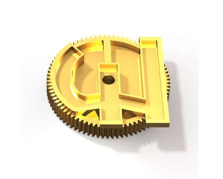 uk money: Gold gear in pound money shape, isolated on white background, 3D illustration.