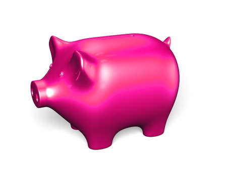 Pink piggy bank, isolated on white, 3D illustration