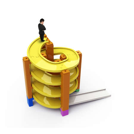 Man thinking on top of unfinished spiral track in stacking blocks, isolated on white, high angle view.