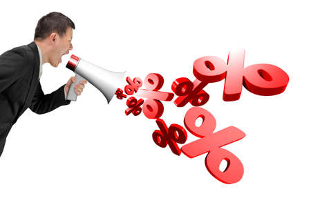 Man hold megaphone with 3D percentage signs spraying out, isolated on white background. Stock Photo