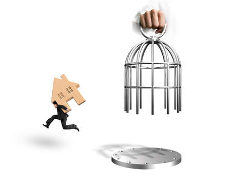 Hand opening the cage and man carrying red wooden house running, isolated on white background.