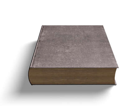 Dark old book, isolated on white, 3D illustration.