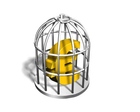 crime solving: Golden Euro sign in the silver cage, isolated on white, 3D illustration Stock Photo