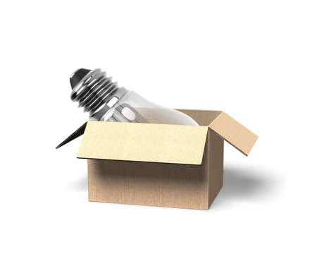 Light bulb in opened cardboard box, isolated on white background, 3D illustration. Stock Photo