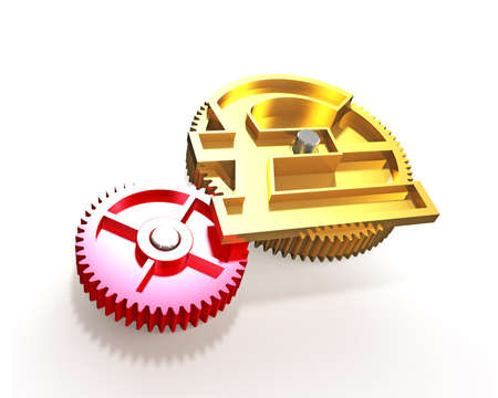 Golden gear in pound money shape, isolated on white, 3D illustration. Stock Photo