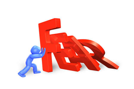 Blue 3d man stopping the domino of red fear word falling, isolated on white, 3D illustration. Stock Photo