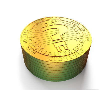 Stack of golden digital coins with question mark, high angle view, concept of cryptocurrency, blockchain technology, bitcoin mining, 3D illustration. Banque d'images