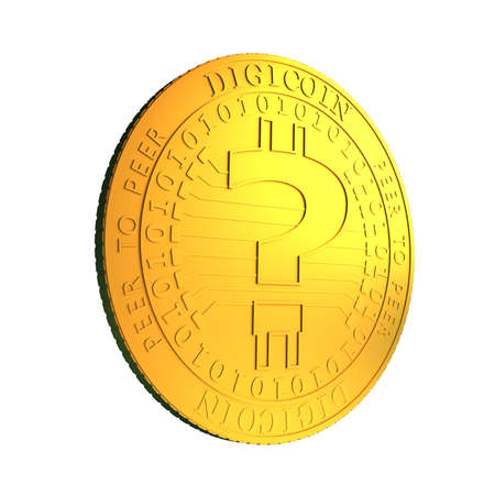 Golden digital coin with question mark standing, isolated on white background, concept of cryptocurrency, blockchain technology, bitcoin mining, 3D illustration.