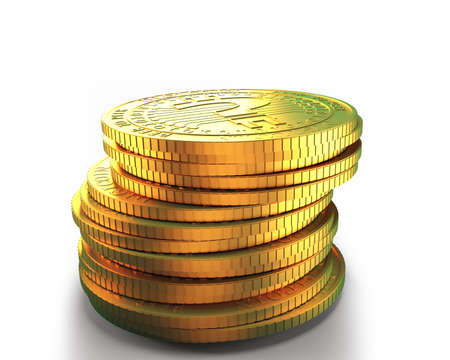 Stack of golden digital coins with question mark, isolated on white, concept of cryptocurrency, blockchain technology, bitcoin mining, 3D illustration.