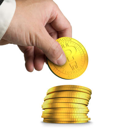 Hand picking golden digital coin with question mark and stacking, isolated on white background, concept of cryptocurrency, blockchain technology, bitcoin mining. Banque d'images