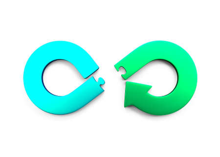 Circular economy concept. Green and blue arrow infinity symbol of puzzle pieces separated, isolated on white, 3D illustration.