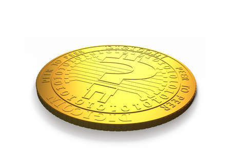 One golden digital coin with question mark, isolated on white background, concept of cryptocurrency, blockchain technology, bitcoin mining, 3D illustration.
