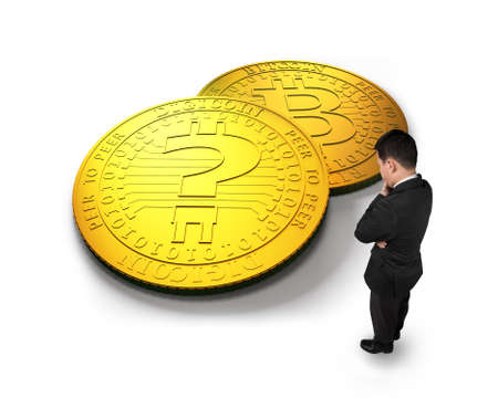 Thinking businessman looking at golden digital coins with question mark, isolated on white background. Concept of cryptocurrency, blockchain technology, bitcoin mining, electronic virtual money.