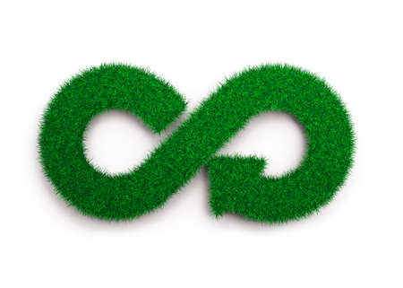 ECO and circular economy concept. The green grass in form of arrow infinity recycling symbol, isolated on white background, 3D illustration. Stockfoto