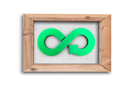 Circular economy concept. Green arrow infinity recycling symbol on white board with wooden frame, isolated on white background.